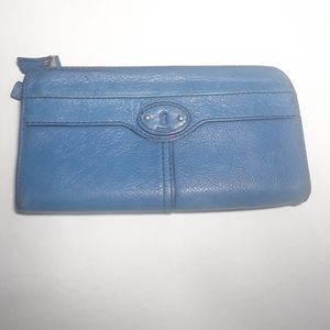blue fossil accordion style wallet
